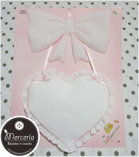 Fiocco nacita rosa con cuore per bambina