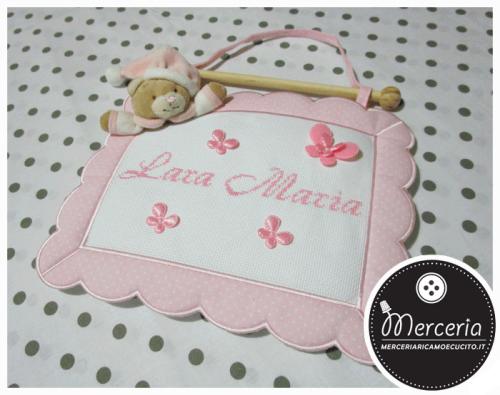 Fiocco nascita quadretto rosa con orso per Lara Maria