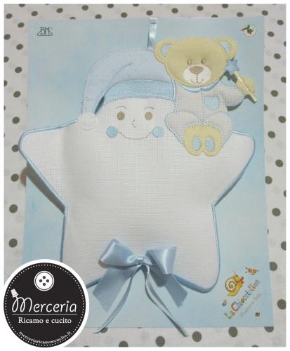 Fiocco nascita stella celeste con cappello e orsetto per bambino