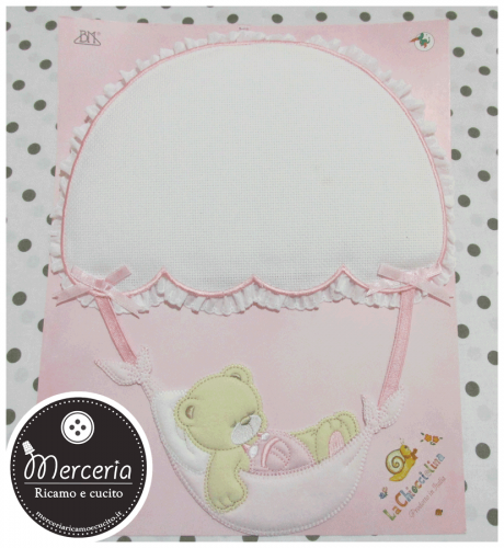 Fiocco nascita rosa con orsetto su paracadute per bambina