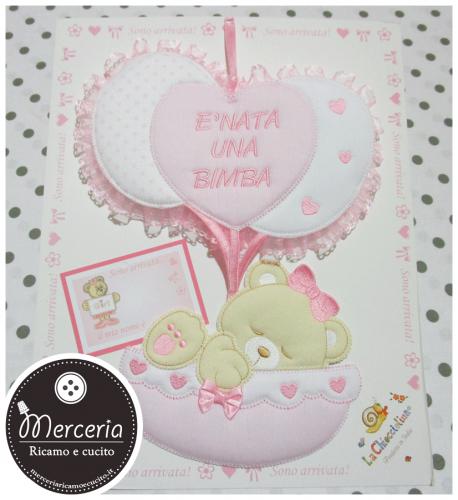 Fiocco nascita rosa con palloncini