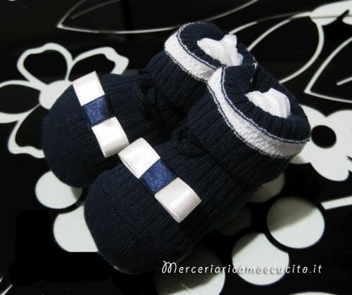 Calze scarpettine neonato blu con fiocchetto