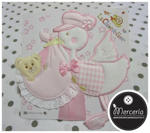 Fiocco nascita cicogna piccola rosa per bambina
