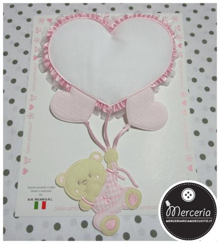 Fiocco nascita rosa con orsetto su palloncini cuore per bambina