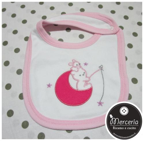 Bavetta prima misura bianco e rosa per neonato con orsetti su luna