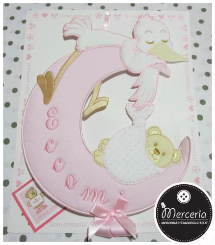 Coccarda fiocco nascita luna rosa con cicogna