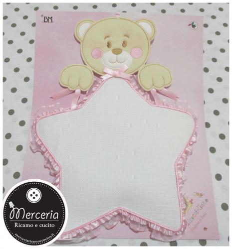 Fiocco nascita orsetto su stella rosa