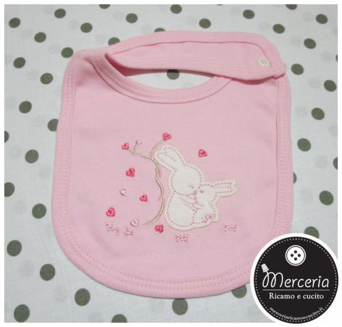 Bavetta prima misura rosa per neonato con coniglietti