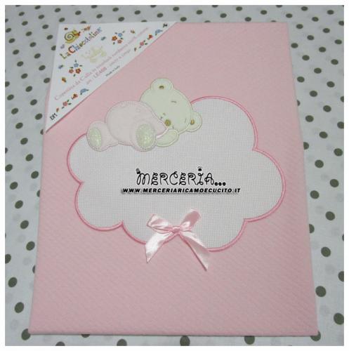 Copertina rosa per neonato con orsetto e nuvola