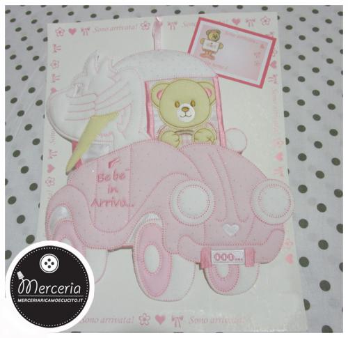 Fiocco nascita macchina rosa con orsetto e cicogna Bebè in Arrivo