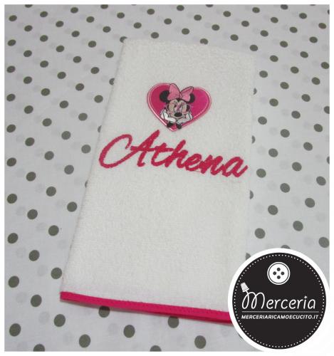 Asciugamano Minnie fucsia personalizzato con nome