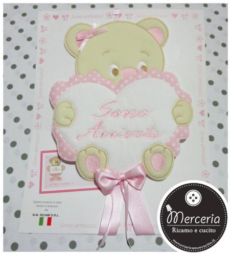 Fiocco nascita orsetto cuore rosa