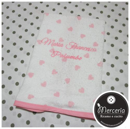 Asciugamano cuori personalizzato con nome