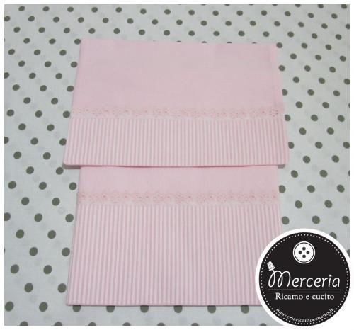 Set lenzuolino a righe rosa in cotone