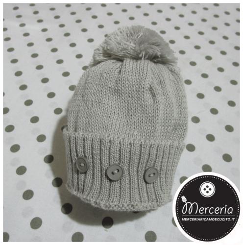 Cappellino grigio in lana con pon pon per neonato