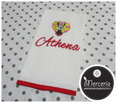 Asciugamano Minnie rosso personalizzato con nome