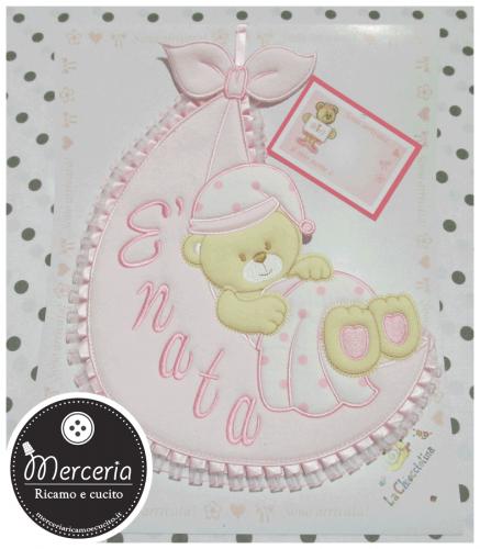 Fiocco nascita rosa sacco con orsetto