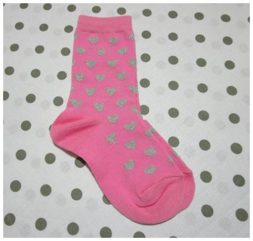 Calzino per bambina rosa con cuori