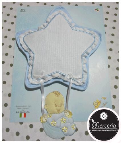 Fiocco nascita stella celeste per bambino