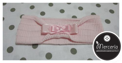 Fascia per capelli in lana rosa con fiocchetto