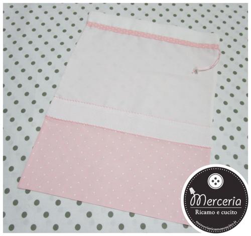 Sacchetto bicolore per nascita e asilo - rosa