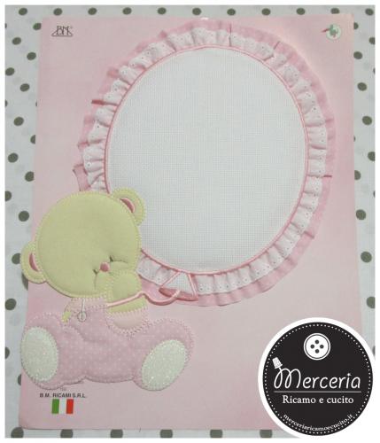 Fiocco nascita rosa orsetto con palloncino per bambina