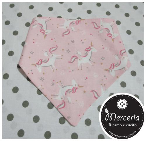 Bavetta bandana con unicorni rosa